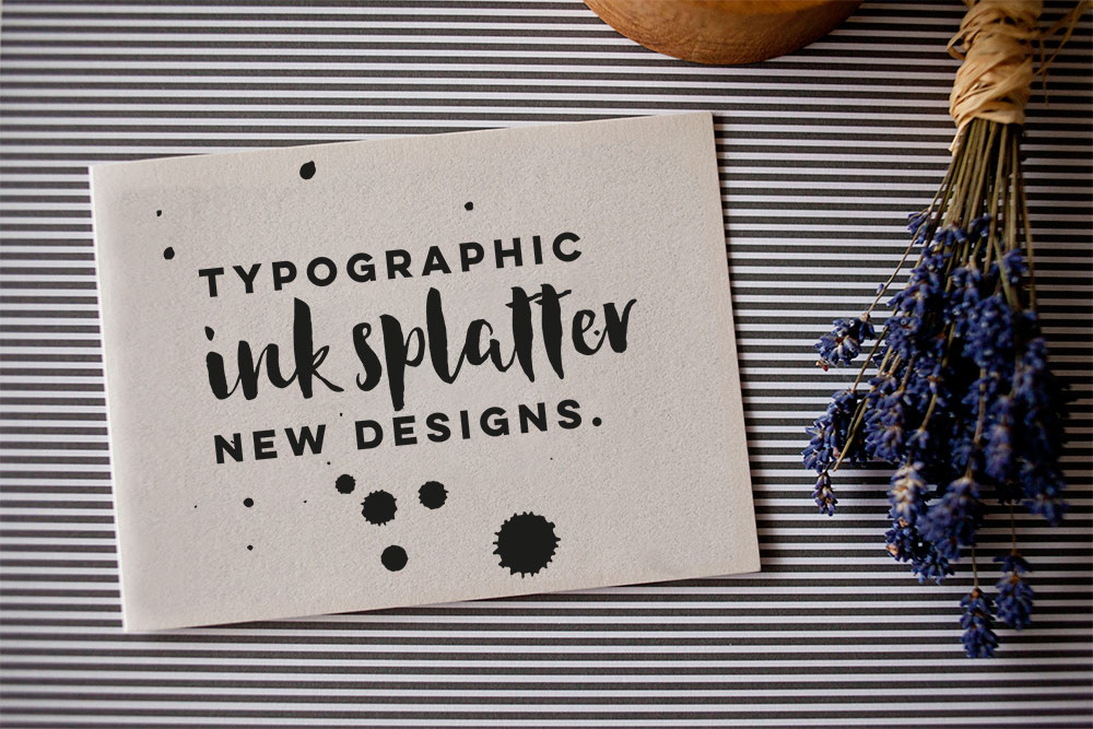 typography-cards-ink-splatter-design-handmade